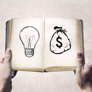 bog med lyspære og pengesæk